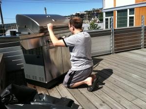 Mike adjusting temperature knobs