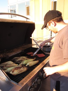 Mike manning the grill