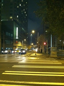Looking down a street towards the Space Needle