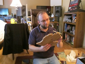 Mike opening the MI-shaped breadboard from his parents!