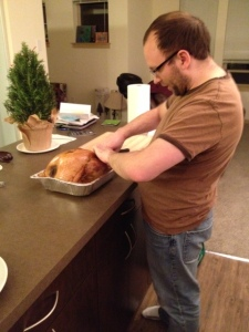 Mike carving the turkey... it's awesome to have a kitchen island!