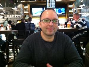 At an English pub in Heathrow Airport