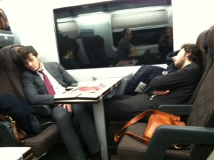 The guys across the aisle from us... clearly used to sleeping on trains!  :)