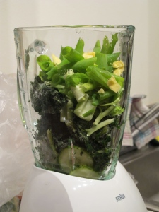 The beginnings of a very green smoothie