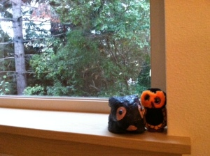 My Halloween owl and the bunny my dad gave me.  I think they're friends.