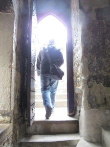 Mike exiting one of the hallways onto a battlement
