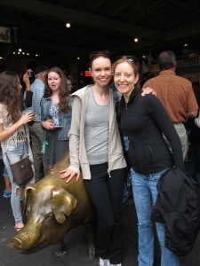 At Pike Place Market by the famous bronze (brass?) pig