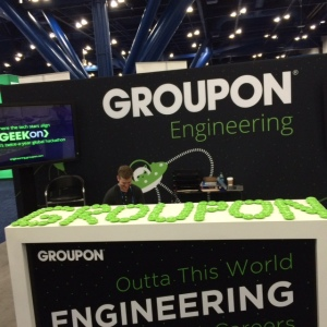 Our booth!  Spelling out Groupon in green was my idea.  :)