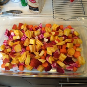 Colorful root vegetables, including beets