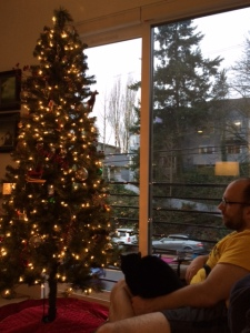 Relaxing in front of the Christmas tree