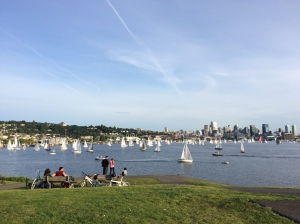 Watching sailboats on Lake Union last week with our neighbors!